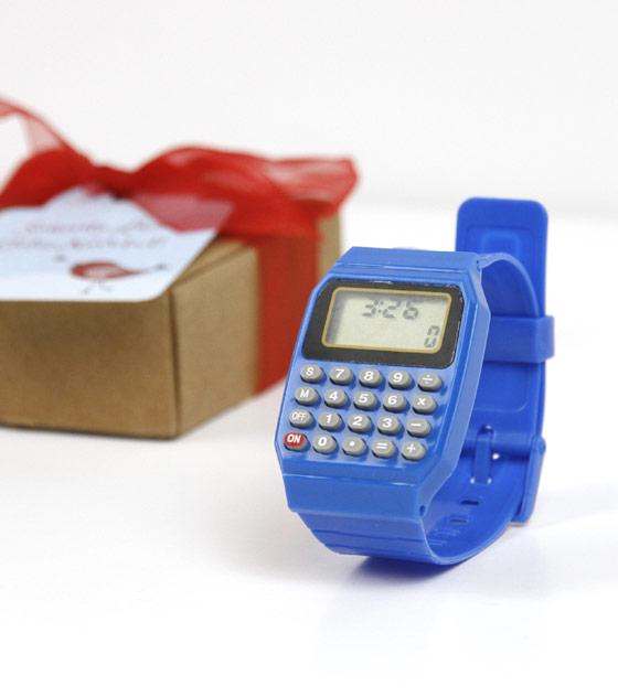 Reloj calculadora azul