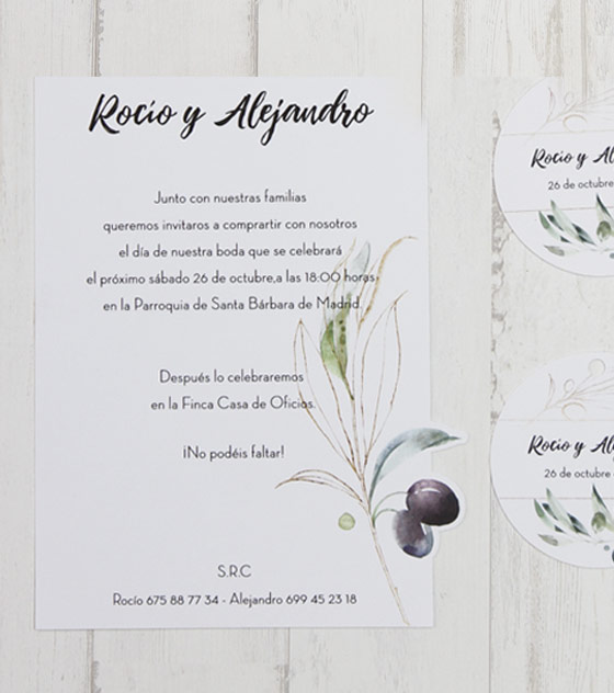 Invitacion boda olivas