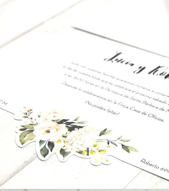 Invitacion boda flor blanca