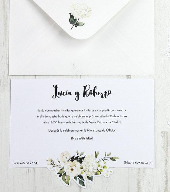 Invitacion boda flor