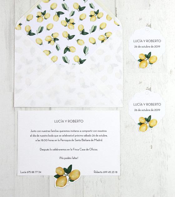 Invitacion boda limon